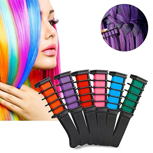 HMILYDYK 6 Pcs Funky Hair Chalk Comb Temporary Shimmer Hair Color Cream Non Toxic Washable Hair Dye Set for Kids Girls Party Fans Cosplay DIY