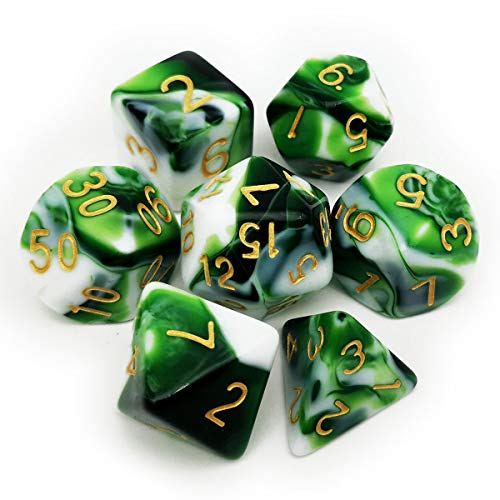 Haxtec Swirl DND Dice Set 7PCS Polyhedral D&D Green Dice for Roleplaying Dice Games as Dungeons and Dragons-Green White Swirls