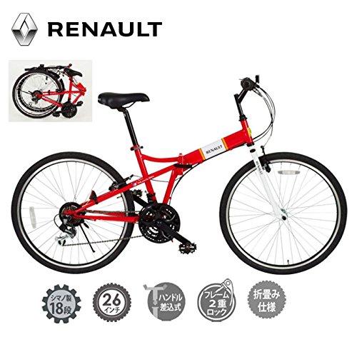 ルノー【RENAULT】折り畳み 自転車 26インチ FDB26 18S MG-RN2618 1712 【メンズ】【レディース】 レッド B078CQB3K4