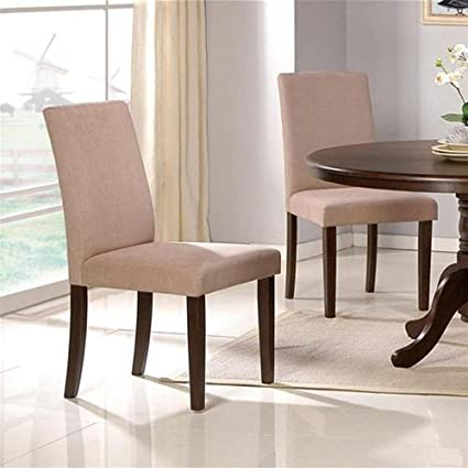 Set Of 2 Parson Dining Chairs   Contemporary Style Beige Finish