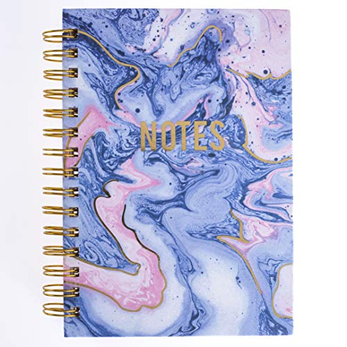 Graphique Blush & Blue Marble Hard Bound Journal, 160 Ruled Pages, Colorful Marble
