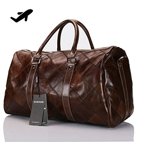 Genuine Leather Travel Duffel Bag Weekender Overnight Carry On Luggage Luxurious Vintage Leather Perfect Fit to Airplane Underseat (Brown) -