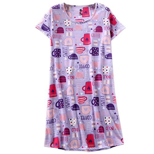 ENJOYNIGHT Womens Cotton Sleepwear Short Sleeves Print Sleepshirt Sleep Tee (Purple Cup, L/XL) - Knit Sleepwear