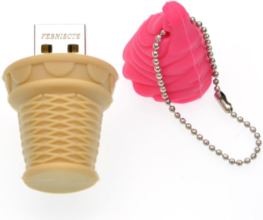 16GB USB 2.0 Flash Drive Divertido 16 GB Pendrive Almacenamiento de Datos Externo Rosa Hielo Unidad USB Pen Drive Regalo Llave USB para Infantil/Madre/Padre/Hermano/Hermana by FEBNISCTE
