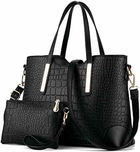 YNIQUE Women Top Handle Satchel Handbags Tote Purse Crocodile Leather Tote Bag