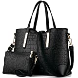 YNIQUE Women Top Handle Satchel Handbags Tote Purse Crocodile Leather Tote Bag