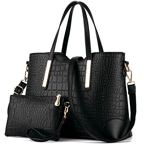 Handle Handbag (YNIQUE Women Top Handle Satchel Handbags Tote Purse Crocodile Leather Tote Bag)