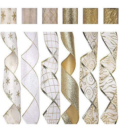 Sheer Wired Edge Ribbon - SANNO 6 Rolls Wired Decorations, Christmas Ribbon Assorted Sheer Glitter Ribbon Tulle Decorations Wired Edge Ornaments 36 Yards (2.5
