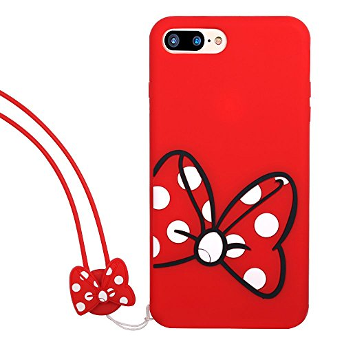 Soft Silicone Minnie Mouse Case with Strap for iPhone 7Plus 8Plus 7+ 8+ Large Size Disney Cartoon Slim Red White Polka Dots Cute Protective Lovely Classic Kids Teens Girls Daughter