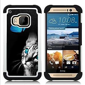 /Skull Market/ - Butterfly Fly Cat Kitty Pet For HTC ONE M9 - 3in1 h????brido prueba de choques de impacto resistente goma Combo pesada cubierta de la caja protec -