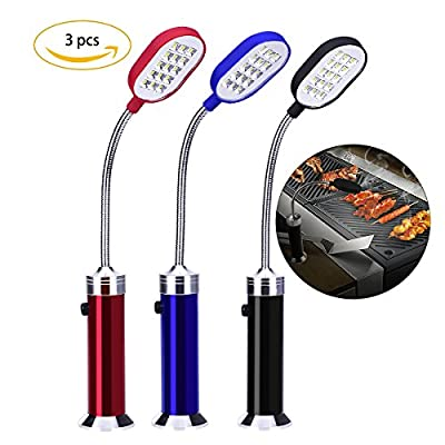 YoungRich 3 Pack Barbecue Grill Light Magnetic Flexible Lightning 15 Ultra-Bright LED Lights 360 Degree Adjustable Weather Resistant for BBQ Summer Electric Grill ehicle Maintenance Black Blue Red by YoungRich