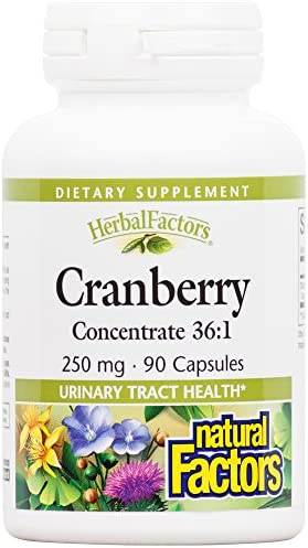 Natural Factors - HerbalFactors Cranberry Concentrate 250mg, Supports a Healthy Urinary Tract, 90 Capsules