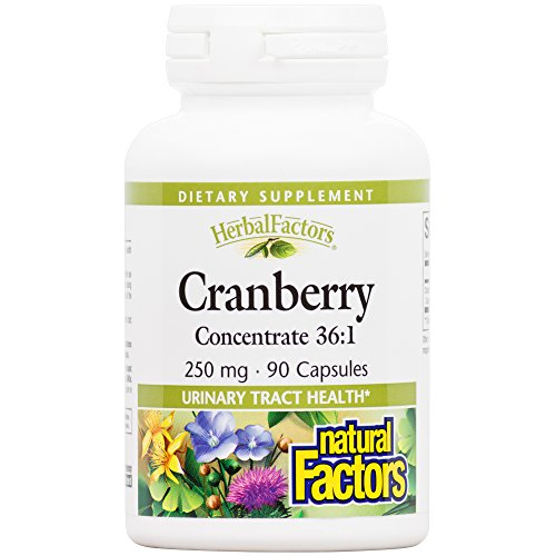 Natural Factors - HerbalFactors Cranberry Concentrate 250mg, Supports a Healthy Urinary Tract, 90 Capsules (Factors Cranberry Natural)