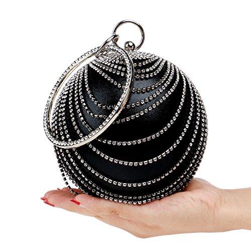 Diamante Ladies Wedding Clubs Gift Shoulder For Bag Clutch Handbag Purse Glitter Women Evening Bridal Black Circular Bag Party Prom agF17qY