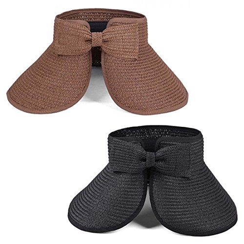 Browns Collapsible - BMC 2pk Womens Roll Up Collapsible Travel Outdoor Straw Sun Hats: Black + Brown
