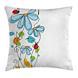 best bags Ladybugs Decorations Throw Pillow Cushion Cover, Flowers Oval Dome-Shaped Ladybugs Never Ending Love Story Illustration, Decorative Square Accent Pillow Case, 18 X 18 Inches, Multi