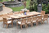 Cheap Grade-A Teak Wood Luxurious Dining Set Collections: 13 Pc -Large 117″ Rectangle Table and 12 Arbor Stacking Arm Chairs #TSDSABd