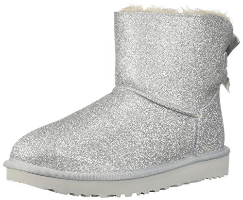 UGG Women's Mini Bailey Bow Sparkle Boot Silver 6 B US ()