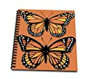 (8x8 drawing book) - BLN Vintage Wildlife Pets and Insects Collection - Two Colourful Monarch Butterflies on a Matching Orange Background - Drawing Book