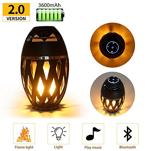 Led Flame Speaker, LEDMEI HD Led Flame Atmosphere Speaker Torch Atmosphere Bluetooth 4.2 Speaker&Portable Outdoor Speaker with Enhanced Bass, LED Flickers Warm Night Lights for iPhone/iPad/Android by LEDMEI