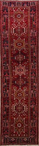 Gharajeh Persian Rugs - Rug Source Traditional Geometric 14 ft Long Gharajeh Vintage Persian Rug Runner for Hallway (13' 10'' x 3' 8'')