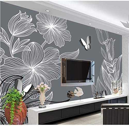 Xueshao カスタム3D大壁画、手描きの花蝶モダンなシンプルな背景の壁、リビングルームのソファテレビ壁寝室壁紙-120X100Cm