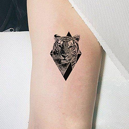 Art Tattoo Tigers - TAFLY Temporary Tattoo Tiger Triangle Body Art Arm Stickers Waterproof Fake Tattoos 5 Sheets