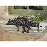Design Toscano Lazy Daze Knot of Frogs Sill Sitters, Bronze For Sale