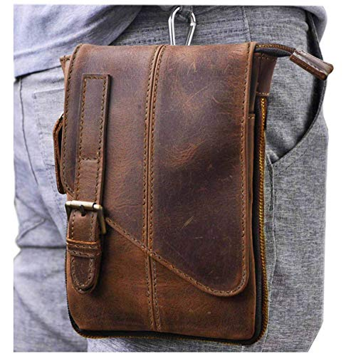 Le'aokuu Mens Genuine Leather Coffee Fanny Small Messenger Shoulder Satchel Waist Bag Pack (Dark Brown Large)