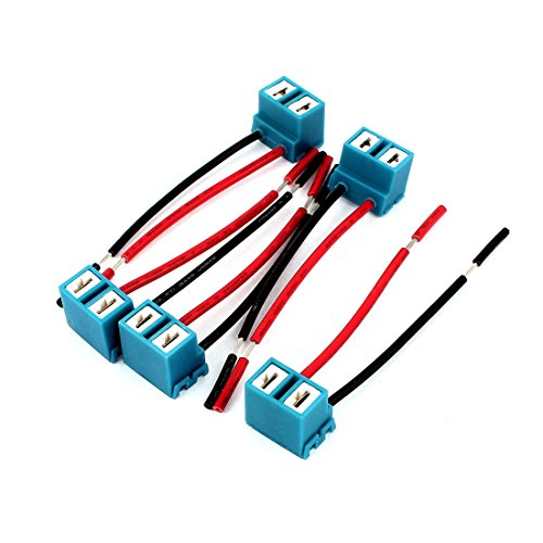 uxcell 5pcs DC 12V 2-Wires H7 Headlight Lamp Bulb Socket Wiring Harness Connector Plug Pigtail Adapter for Car (H7 Headlight Wire Harness)