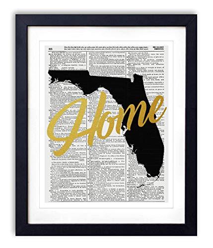 - Florida Home Gold Foil Art Print - Vintage Dictionary Reproduction Art Print