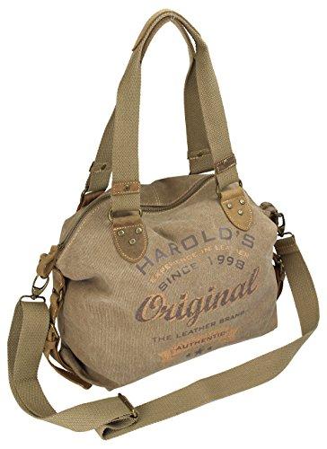HAROLD'S Damen Handtasche im Vintage-Look aus Canvas mit hochwertigem Echt-Lederbesatz und Retro Print (4536)