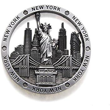 Circle New York Souvenir Metal Fridge NY Magnet - Statue of Liberty,Brooklyn Bridge,NY Chrysler Building,Flatiron NYC Metal Magnet (Pack 1)