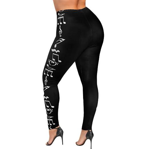 Pantalones de Yoga Tallas Grandes Para Mujer, LILICAT® XL~5XL, Mallas Chandal Deporte Running Yoga de Cintura Alta con Notas Musicales/Calaveras ...