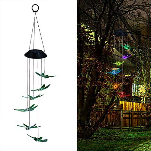 (Tharv❤Color Changing LED Solar Wind Chime Dragonfly Wind for Gardening Lighting Green)