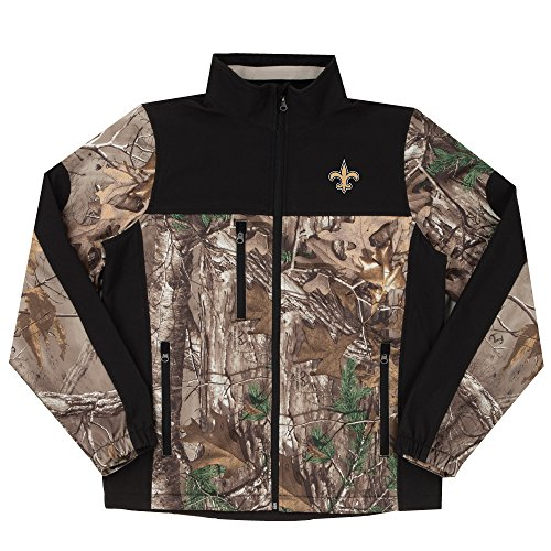 NFL New Orleans Saints Hunter Colorblocked Softshell Jacket, Real Tree Camouflage, 4X - University New Orleans Basketball