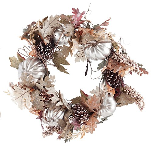 Gerson Harvest Pumpkin & Pinecone Decorative Fall Wreath – 24″ For Sale