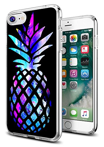Pineapple Case for iPhone 8/for iPhone 7,Gifun [Anti-Slide] and [Drop Protection] Clear Soft TPU Premium Flexible Protective Case for iPhone 8/for iPhone 7 - Brightly Colored Marble Pineapple