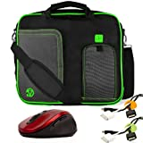 Pindar Water-Resistant Durable Nylon Protective Messenger Shoulder Bag [GREEN/BLACK] For Apple MacBook Air 13.3-Inch Notebook Laptop + x2 Cable Organizers + Wireless 2.4Ghz Mouse