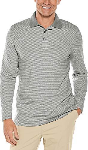 Coolibar UPF 50+ Men's Long Sleeve Weekend Polo Shirt - Sun Protective (X-Large- Light Grey Stripe) ()