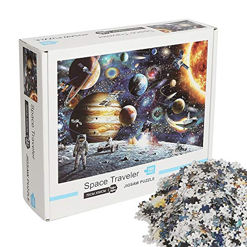 CESHUMD 1000 Piece Jigsaw Puzzles-Outer Space Planets and Astronaut, Educational Intellectual Decompressing Fun Game for Kids Adults