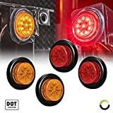 4-PC-2-Round-LED-Light-Side-Marker--Two-in-One-Reflector-Light-Polycarbonate-Reflector-10-LEDs-Rubber-Grommet-