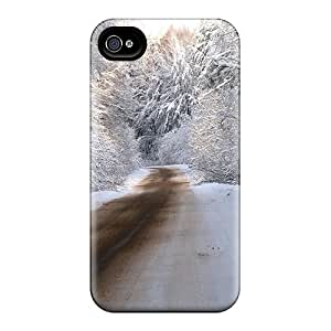 Hard Plastic Iphone 4/4s Case Back Cover,hot Winter Road Case At Perfect Diy