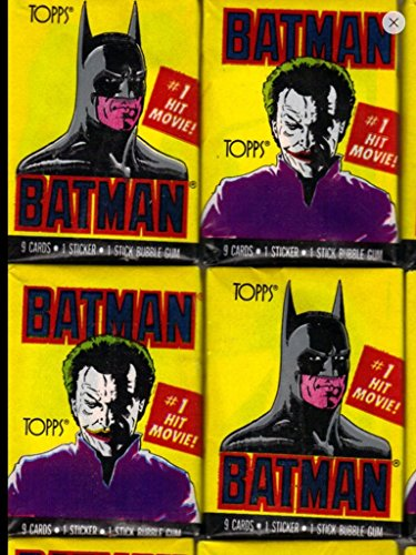 Batman Trading Cards (4) Unopened Wax Pack Lot Trading Cards and Stickers 1989 Topps First Series Non-sport ()