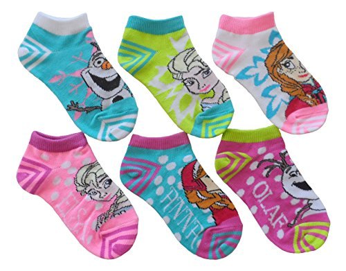 Disney Frozen Little Girls' No Show Socks 6 pk