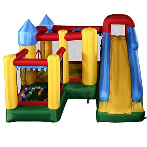 - Costzon Mighty Inflatable Bounce House, Castle Jumper Moonwalk Slide Bouncer, Kids Jumper With Balls (Bounce House Without Blower)