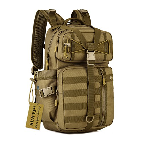 SUNVP 30L Tactical Military MOLLE Assault Backpack Pack Large Bag Rucksack Sport Outdoor Gear for Hunting Cycling Camping with Hydration Bladder Pocket