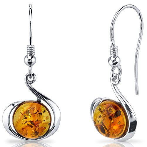 Cognac Baltic Amber Earrings (Baltic Amber Fishhook Earrings Sterling Silver Cognac Color Round Shape)