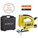 Moroly 800W Jig Saw 6 Speed with Laser LED Lights 5.9FT Cord with Carrying Case Electric Jigsaw Handle Jigsaw