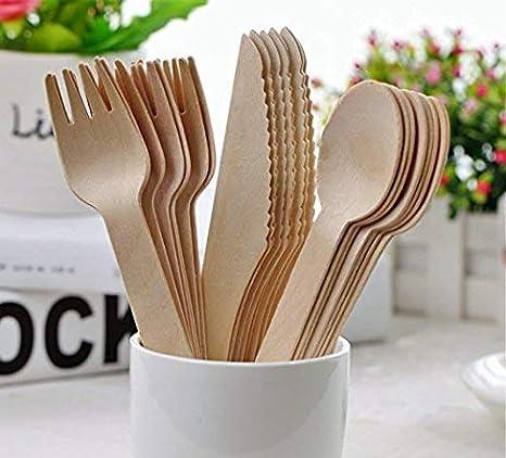 Set de 150 piezas de cubiertos desechables de madera – 50 tenedores, 50 cuchillos y